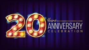 20 rok Rocznicowego sztandaru wektoru Dwadzieścia, Twentieth świętowanie Lampowe tło cyfry Dla ulotki, karta, Poślubia royalty ilustracja