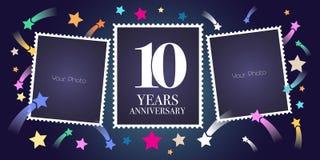 10 rok rocznicowego wektorowego emblemata, logo Zdjęcie Stock