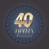 40 rok rocznicowego wektorowego loga Obraz Royalty Free