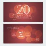 20 rok rocznicowego zaproszenia świętowanie wektoru ilustracja royalty ilustracja