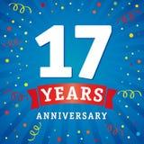 17 rok rocznicowej loga świętowania karty Obraz Royalty Free