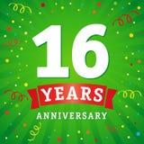 16 rok rocznicowej loga świętowania karty Fotografia Stock