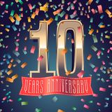 10 rok rocznicowej wektorowej ikony, logo Obraz Stock