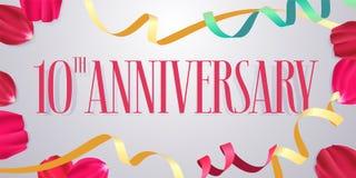 10 rok rocznicowej wektorowej ikony, logo Obraz Royalty Free