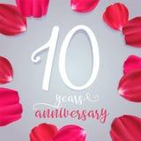 10 rok rocznicowej wektorowej ikony, logo Obrazy Stock