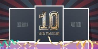 10 rok rocznicowej wektorowej ikony, logo Obrazy Royalty Free