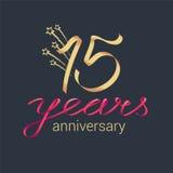 15 rok rocznicowej wektorowej ikony, logo Obrazy Stock