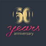 60 rok rocznicowej wektorowej ikony, logo Obraz Royalty Free