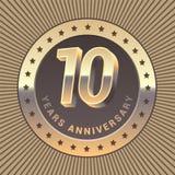 10 rok rocznicowej wektorowej ikony, logo Zdjęcia Royalty Free