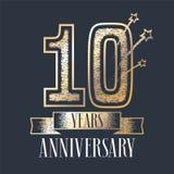 10 rok rocznicowej wektorowej ikony, logo Zdjęcia Stock