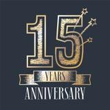 15 rok rocznicowej wektorowej ikony, logo Zdjęcia Stock