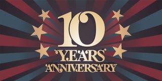 10 rok rocznicowej wektorowej ikony, logo, sztandar Fotografia Royalty Free
