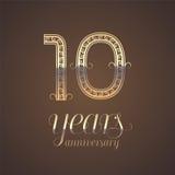 10 rok rocznicowej wektorowej ikony, symbol Zdjęcia Royalty Free