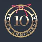 10 rok rocznicowej wektorowej ikony, symbol Fotografia Royalty Free