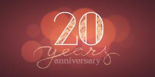 20 rok rocznicowej wektorowej ilustraci, sztandar Obrazy Royalty Free