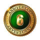 6 rok rocznicowej złotej etykietki Zdjęcie Stock