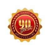 90 rok rocznicowej złotej etykietki Fotografia Royalty Free