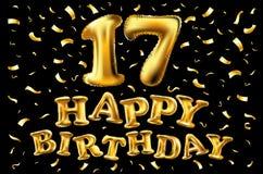 17 rok rocznicowej zaproszenie karty - błyszczący złocisty świętowanie szablonu projekt, wektorowa ilustracja Obraz Royalty Free