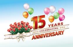 15 rok rocznicowych z bukietem róże Obraz Stock