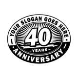 40 rok rocznicy świętowania 40th rocznicowy logo projekt Czterdzieści rok logo royalty ilustracja