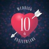 10 rok rocznicy być poślubiającym wektorowym ikoną, logo Zdjęcie Stock