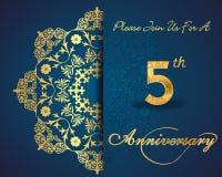 5 rok rocznicy karta, 5th rocznicowi dekoracyjni Kwieciści elementy Zdjęcia Stock