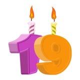 19 rok urodzinowych Liczba z świąteczną świeczką dla wakacje torta ilustracja wektor