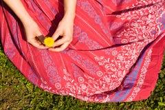 Rok van een meisje in het gras stock afbeeldingen