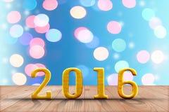 2016 rok w perspektywicznym drewnie z plamy bokeh ścianą i drewniany Zdjęcia Stock
