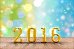 2016 rok w perspektywicznym drewnie z plamy bokeh ścianą i drewniany Obrazy Stock