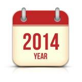 2014 rok wektoru kalendarza App ikona Z odbiciem Zdjęcia Royalty Free