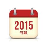 2015 rok wektoru kalendarza App ikona Z odbiciem Obraz Stock
