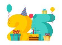 25 rok wszystkiego najlepszego z okazji urodzin kartka z pozdrowieniami 25th rocznicowy celebrati Zdjęcia Royalty Free