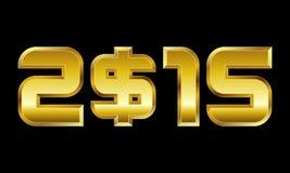 Rok 2015, złote liczby z dolarowym waluta symbolem Obrazy Stock