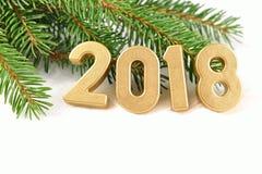 2018 rok złote postacie i świerczyny gałąź Fotografia Stock