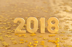 2018 rok złote postacie i złote gwiazdy Zdjęcie Stock