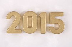 2015 rok złote postacie na bielu Fotografia Royalty Free