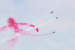 ROKAF T-50 Golden Eagles in formation. At Singapore Airshow 2014 Royalty Free Stock Photos