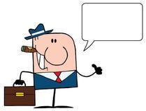 Roken die van de sigaar beduimelt omhoog Kaukasische zaken spreekt Stock Foto