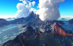 Rokende caldera van vulkaan het 3d teruggeven Royalty-vrije Stock Foto