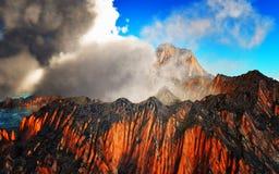 Rokende caldera van vulkaan het 3d teruggeven Stock Fotografie