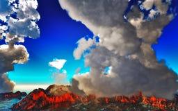 Rokende caldera van vulkaan het 3d teruggeven Stock Foto's