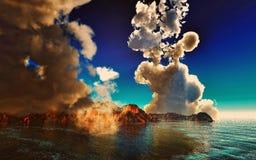 Rokende caldera van vulkaan het 3d teruggeven Stock Afbeeldingen