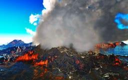 Rokende caldera van vulkaan het 3d teruggeven Royalty-vrije Stock Afbeelding
