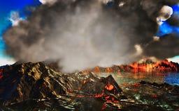 Rokende caldera van vulkaan het 3d teruggeven Royalty-vrije Stock Afbeeldingen