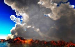 Rokende caldera van vulkaan het 3d teruggeven Stock Afbeelding