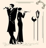 rokende man en vrouw Stock Afbeelding