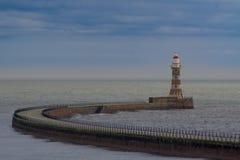 Roker灯塔 位于森德兰 库存照片