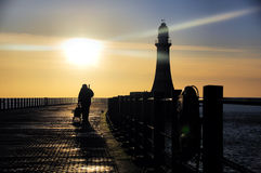 Roker Pier and Fisherman Royalty Free Stock Images