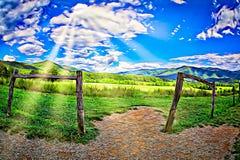 Rokerige Bergmening met blauwe hemel in de zomer digitale ilustration royalty-vrije stock afbeelding